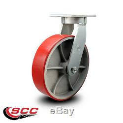 SCC 10 Extra Heavy Duty Red Poly on Metal Caster Set 2 Swivel/2 Rigid-Set 4