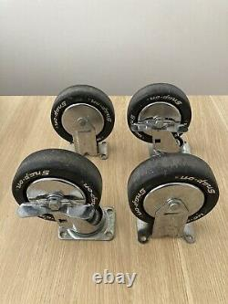 SNAP-ON Heavy Duty 5 CASTERS Set of 4 FAULTLESS Vtg Locking Toolbox MADE IN USA