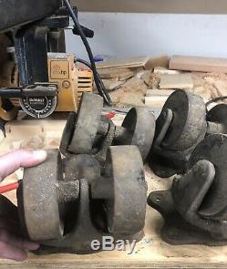 Set Large Close To 9 Vintage Heavy Duty Cast Iron, Industrial Caster-Steampunk