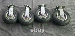 Set Of 4 Large Inflatable Wheel Tire Casters Industrial 8.5 Diameter Heavy Duty