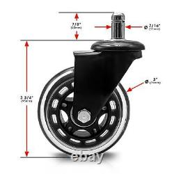 Set of 50 Office Chair Caster PU Swivel Wheels Replacement Heavy Duty 3 inch