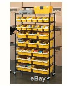 Seville Classics 24-Bin Rack with Rolling Wheels Casters Garage Storage Shelving