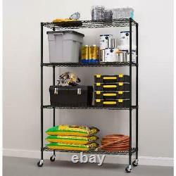 Shelving System 4-Shelf Liners Commercial Grade Wire Casters 18D x 48W x 75H