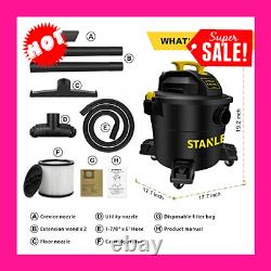 Shop Vac Wet/Dry Vacuum 10 Gallon Tank 6HP Warehouse Cleaner Heavy Duty Casters