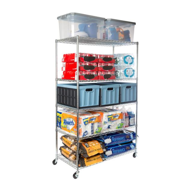 Silver 48 X 24 X 72 Ultra Durable 5-tier Steel Wire Shelving Rack With Wheels