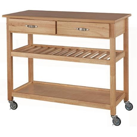 Solid Wood Kitchen Cart Two Drawers Open Shelves Towel Rack Heavy Duty Casters