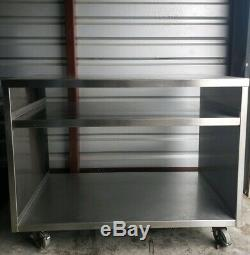 Stainless Steel Cabinet Mobile Workstation Table Equipment Stand Cart on Casters