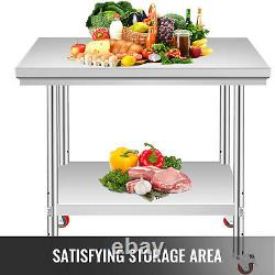 Stainless Steel Commercial Kitchen Work Food Prep Table with 4 Casters 30 x 24