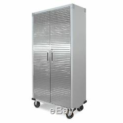 Steel Storage Cabinet Mobile with Casters Heavy-Duty Adjustable Shelves Locking