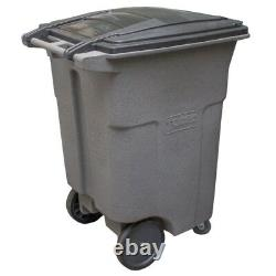 Toter 96 Gal. Grey Wheeled Trash Can with Casters Garbage Waste Receptacle Bin