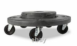 Trash Can Dolly Heavy-duty Plastic 5 Casters, Gray