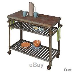 Urban Style Kitchen Cart Clear coated rusted aged metal heavy-duty casters