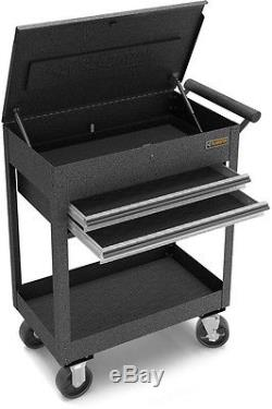 Utility Cart Steel Granite 2-Drawer For Kitchen and Bar Heavy Duty in Silver