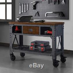 Whalen 48 Metal & Wood Work Bench, Solid Wood &Top Heavy Duty Casters