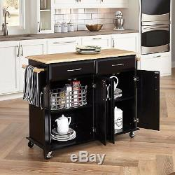 Wooden Kitchen Cart Two Cabinets Drawers Towel Bars Heavy Duty Casters Black