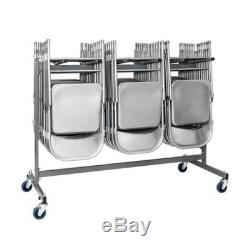 ZOWN Commercial Heavy Duty Folding Chair Trolley Cart with Locking Casters, Gray